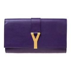 Saint Laurent Paris Purple Leather Large Chyc Clutch