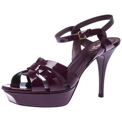 Saint Laurent Paris Purple Patent Leather Tribute Platform Sandals Size 40.5