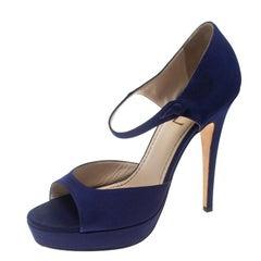 Saint Laurent Paris Purple Satin Open Toe Platform Sandals Size 38.5