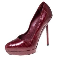 Saint Laurent Paris Red Leather Divine Platform Pumps Size 38.5