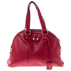 Saint Laurent Paris Red Leather Medium Muse Satchel