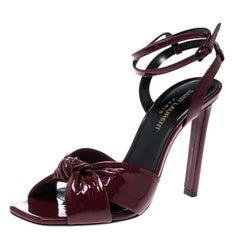 Saint Laurent Paris Red Patent Leather Amy Knot Detail Ankle Strap Sandals Size