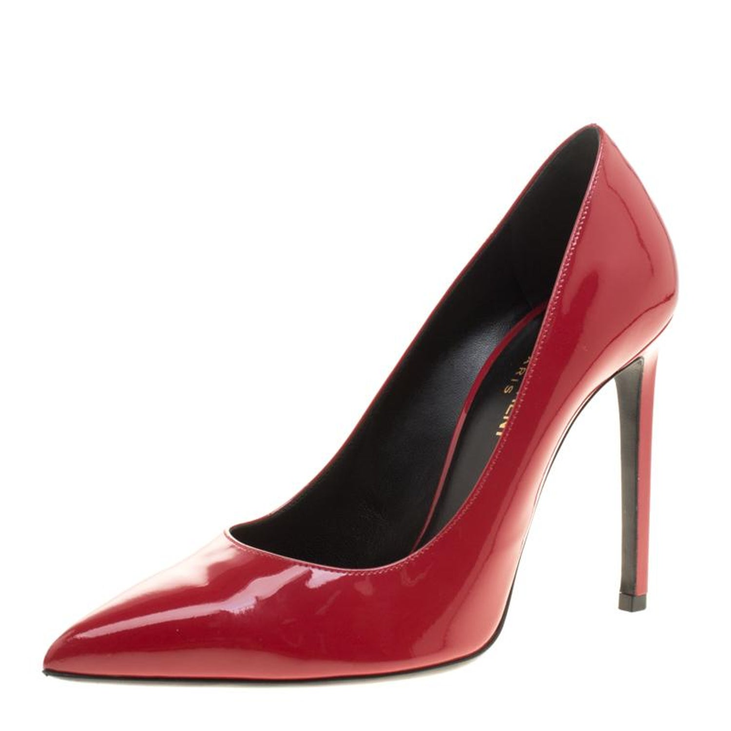 677b35ef3a0 Saint Laurent Paris Red Patent Leather Paris Skinny Pointed Toe Pumps Size  39 For Sale at 1stdibs