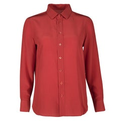 Saint Laurent Paris Red Silk Long Sleeve Shirt M