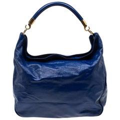Saint Laurent Paris Royal Blue Patent Leather Roady Hobo