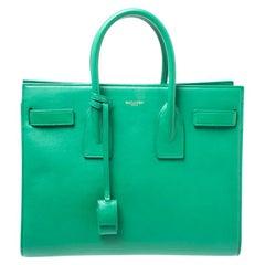 Saint Laurent Paris Saint Laurent Green Leather Small Classic Sac De Jour Tote