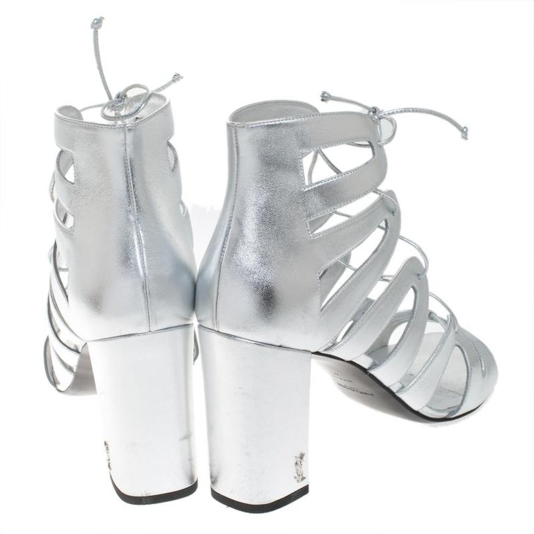 Women's Saint Laurent Paris Silver Leather Gladiator Ankle Wrap Sandals Size 41 For Sale
