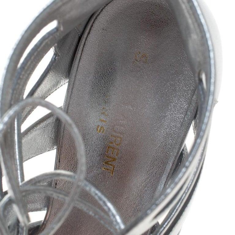 Saint Laurent Paris Silver Leather Gladiator Ankle Wrap Sandals Size 41 For Sale 2