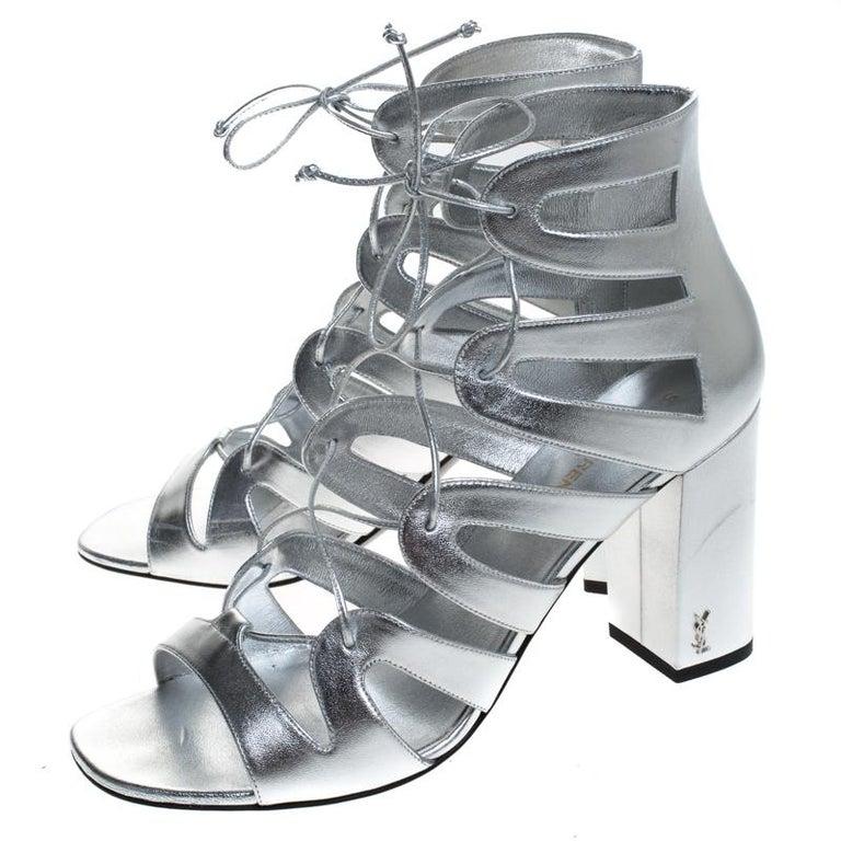 Saint Laurent Paris Silver Leather Gladiator Ankle Wrap Sandals Size 41 For Sale 3