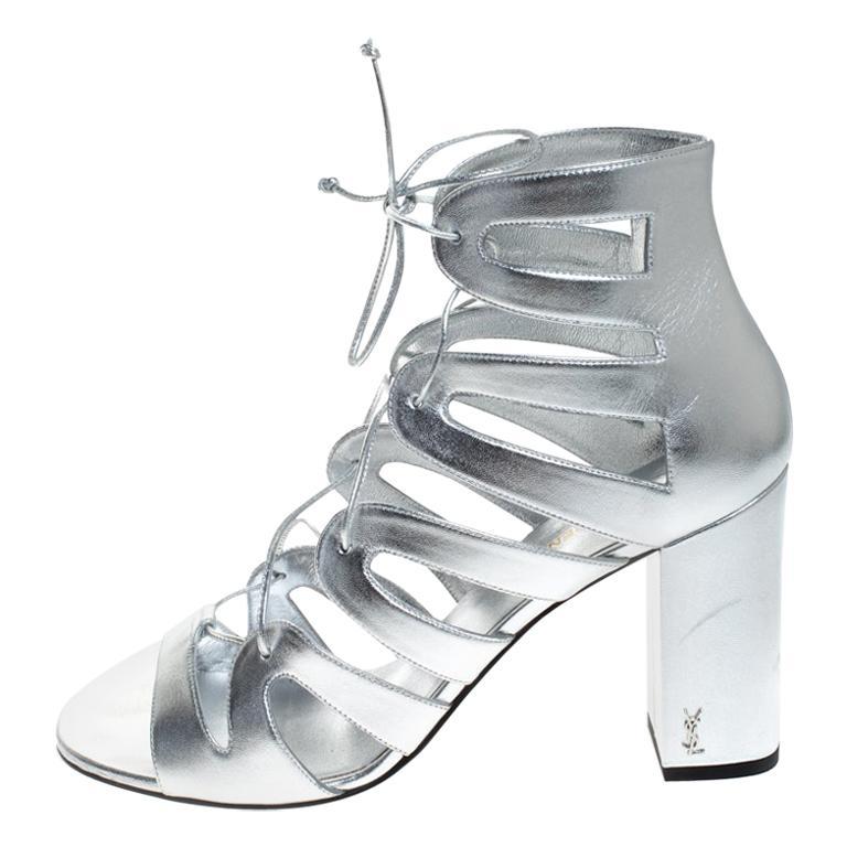 Saint Laurent Paris Silver Leather Gladiator Ankle Wrap Sandals Size 41 For Sale