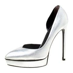 Saint Laurent Paris Silver Leather Janis 105 D'Orsay Pumps Size 37.5