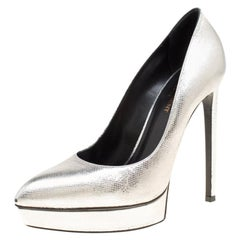 Saint Laurent Paris Silver Leather Janis Pointed Toe Platform Pumps Size 39