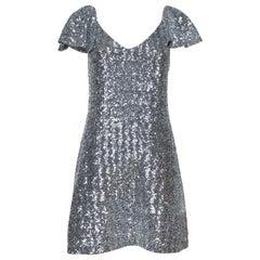 Saint Laurent Paris Silver Sequin Embellished Flutter Sleeve Dress M