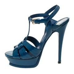 Saint Laurent Paris Teal Patent Leather Tribute Platform Sandals Size 38