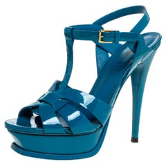Saint Laurent Paris Teal Patent Leather Tribute Platform Sandals Size 38