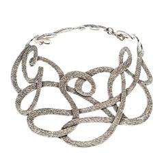Saint Laurent Paris Textured Cut-out Silver Tone Choker Necklace