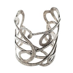 Saint Laurent Paris Textured Cut-out Silver Tone Open Cuff Bracelet