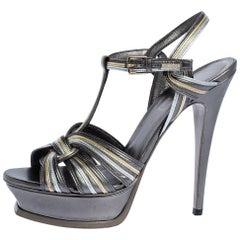Saint Laurent Paris Tri Color Leather Tribute Platform Sandals Size 39