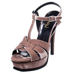 Saint Laurent Paris Velvet Beige Tribute Platform Sandals Size 37