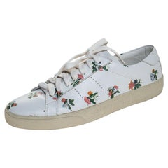 Saint Laurent Paris White Floral Printed Leather Low Top Sneakers Size 38.5