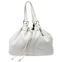 Saint Laurent Paris White/Grey Leather Reversible Double Sac Y Tote