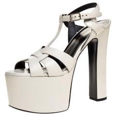 Saint Laurent Paris White Leather Block Heel Ankle Strap Sandals Size 37.5