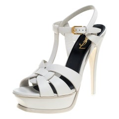 Saint Laurent Paris White Leather Tribute Platform Ankle Strap Sandals Size 38