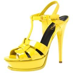 Saint Laurent Paris Yellow Patent Leather Tribute Platform Sandals Size 39