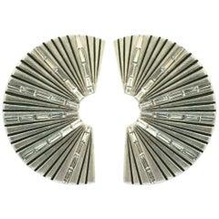 SAINT LAURENT PARIS YSL Baguette Crystal Fan Design Clip Earrings Estate Find