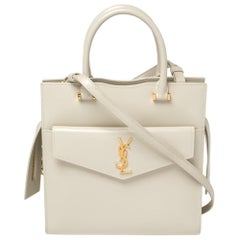Saint Laurent Pearl White Leather Small Uptown Tote