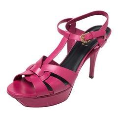 Saint Laurent Pink Leather Tribute Platform Ankle Strap Sandals Size 40