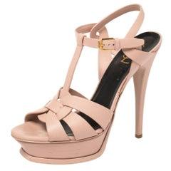 Saint Laurent Pink Leather Tribute Sandals Size 38