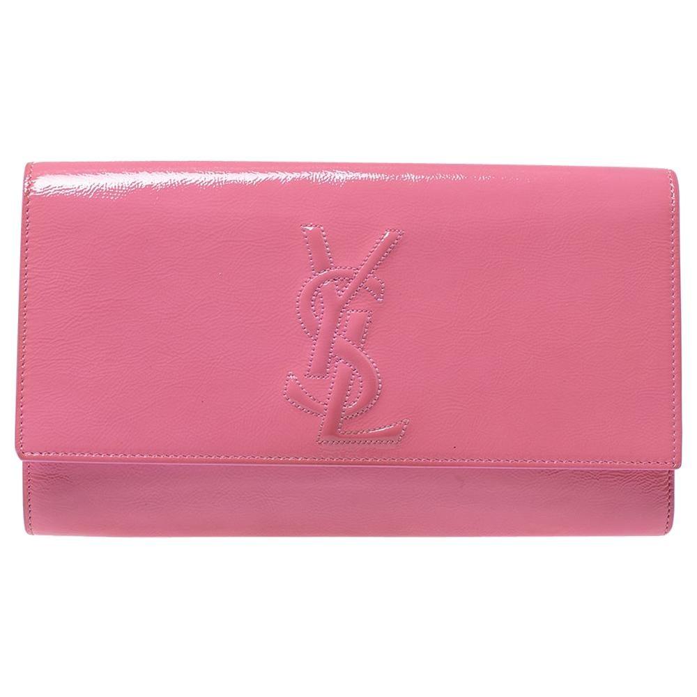 Saint Laurent Pink Patent Leather Belle De Jour Flap Clutch