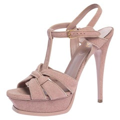 Saint Laurent Pink Quartz Textured Suede Tribute Platform Sandal Size 38.5