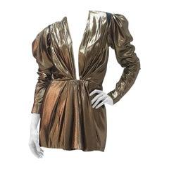 Saint Laurent Plunge Neck Gold Tunic Dress Dress