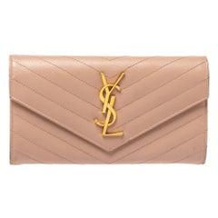 Saint Laurent Powder Pink Matelasse Leather Monogram Envelope Wallet