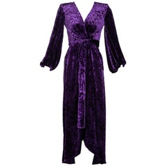 Saint Laurent Purple Crushed Velvet Plunge Wrap Dress YSL Runway, 1985