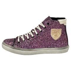 Saint Laurent Purple Glitter High Top Sneakers Size 40