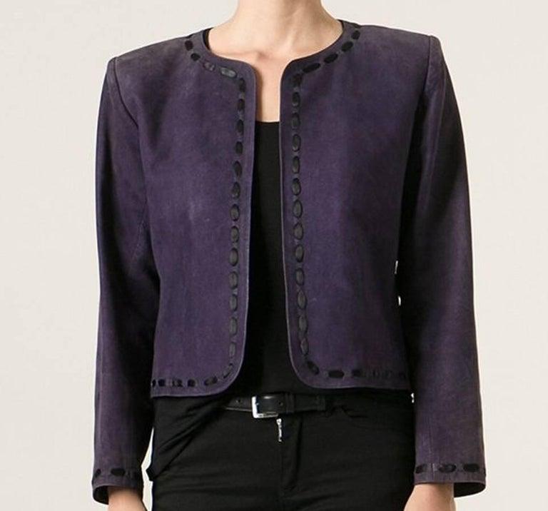 Yves Saint Laurent Purple Lamb Suede Bolero Jacket  In Excellent Condition For Sale In Paris, FR