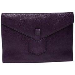 Saint Laurent Purple Leather Y Envelope Clutch