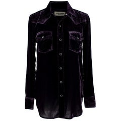 Saint Laurent Purple Metallic Velvet Shirt  M