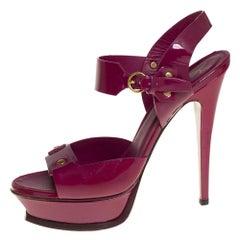 Saint Laurent Purple Patent Leather Ankle Strap Platform Sandals Size 39.5