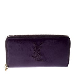 Saint Laurent Purple Patent Leather Belle de Jour Zip Around Wallet