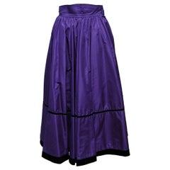 Saint Laurent Purple Velvet-Trimmed Skirt