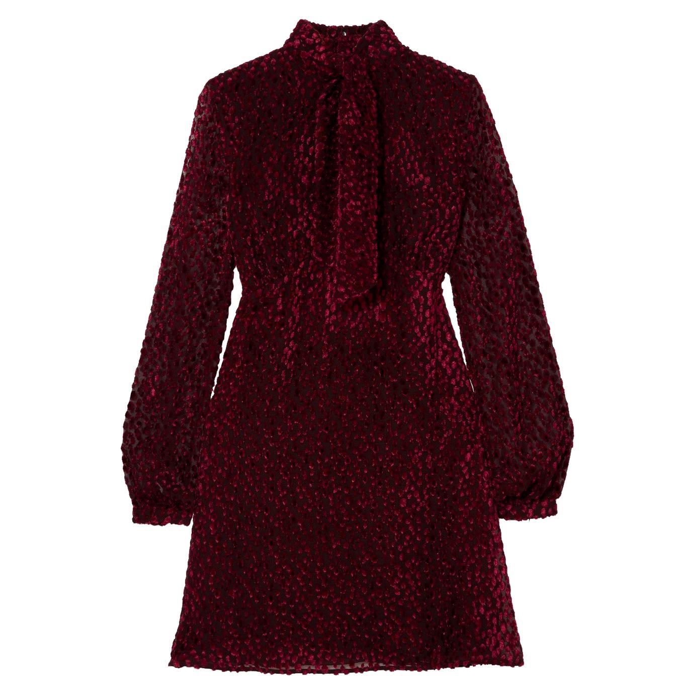 Saint Laurent Pussy-Bow Devoré-Chiffon Mini Dress