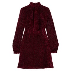 Saint Laurent Pussy-Bow Devoré-Chiffon Mini Dress