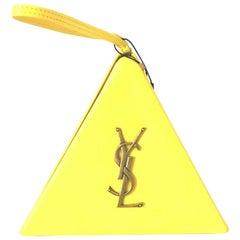 SAINT LAURENT PYRAMID BOX BAG - Yellow Clutch/Wristlet