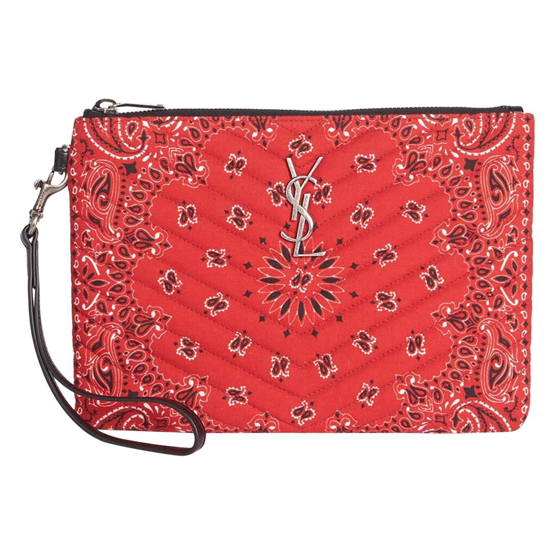 Saint Laurent Bandana Print Red Monogram Wristlet Pouch Bag