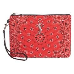 Saint Laurent Red Bandana Print Monogram Wristlet Pouch Bag