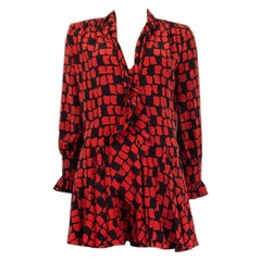 SAINT LAURENT red & black PRINTED silk PUSSY BOW MINI Dress S